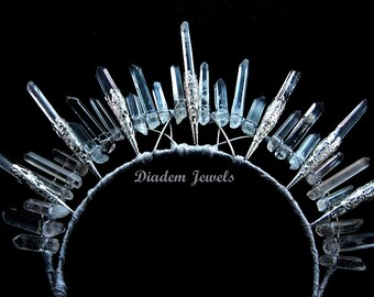 Quartz Crown Crystal Crown Crystal Tiara Quartz Tiara Bridal Headpiece Quartz Headpiece Quartz Headband Quartz Headdress Wedding Halo