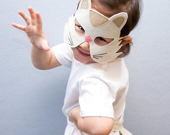 Cat Mask, Kids Mask, White Cat Mask, Carnival Mask, Halloween Mask, White Kitty Mask, Gift for Kids, Dress up Mask, Soft Toys, Made in UK