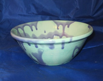 Turquoise Bowl with Chambray Decoration, Stoneware Ceramic Pottery, Wheel Thrown