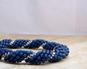 Blue and Silver Bead Crochet Bracelet, Crochet Jewelry, Beaded Bracelet, Blue Bangle Bracelet