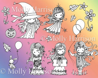 Whimsical Girly Girls - 1 PNG File - Clipart -  Molly Harrison Fantasy Art -  Digi Stamp /Digital Stamp / Digistamp - Instant Download