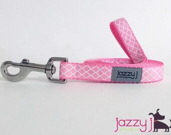 Baby Pastel Pink and White Trellis Quatrefoil Dog Leash Lead
