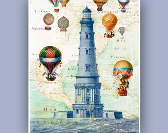 Ballooning at the Lighthouse Print, Fantasy collage Vintage  images, old  N. E. America Map, beach cottage decoration, coastal living