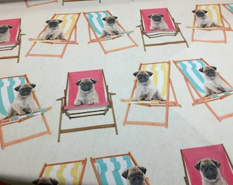 Pugs Deck Chairs Dogs 100% Cotton Upholstery Roman Blinds Curtain Fabric UK Design