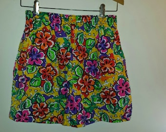 Funky Retro Vibrant Flower Resort Shorts