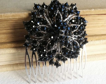 Black hair accessories, vintage hair comb, black bridal headpiece, black hair comb, gothic, goth,, gunmetal, hair accessories, obsidian