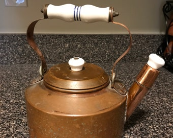 Vintage Copper Whistler Tea Kettle