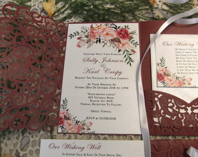 Wedding Invitation Package, Laser Cut Burgundy Pocket Folds, RSVP, Wishing Wells, Envelopes, Invitation Suite - Custom Wording