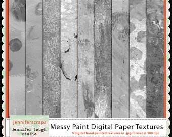 Instant Download - Set of 9 handpainted digital paper textures - Messy Paint  - CU4CU