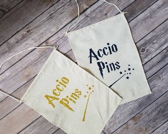 Accio, summoning spell, Pin Banner, Enamel Pin, banner, Badge display, Pin flag, Pin holder, Harry Potter, canvas wall hang, pin badge, Pin