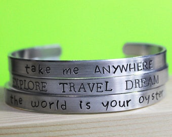 Travel Bracelet, Explore Travel Dream, Take Me Anywhere, The World is your Oyster, Vanlife Jewelry, Vagabond Wanderlust