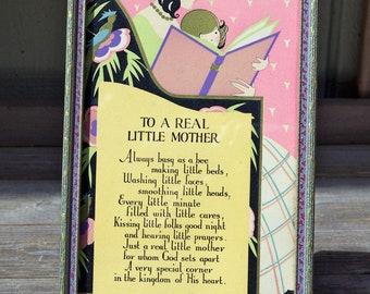 Vintage Framed Poem Print To A Real Little Mother