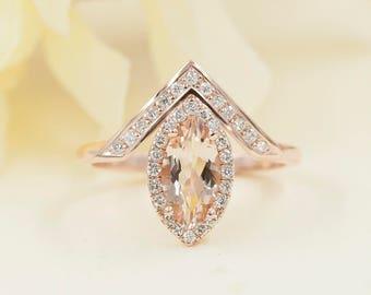 Simple Marquise Morganite Engagement Ring.Diamond Engagement Ring.14K Solid Gold Engagement Ring.14K Rose Gold Wedding Ring.0.28ct Diamonds