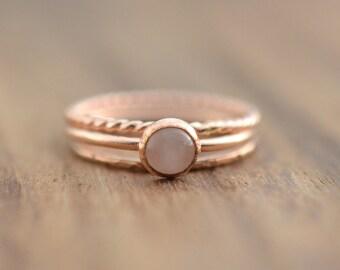 14K Rose Gold Filled Rose Quartz Ring Set// Rose Gold Rose Quartz Ring // Set of 3 Rose Gold Rings // Rose Quartz Stacking Ring