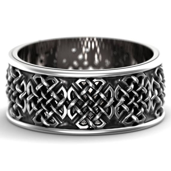 Celtic Wedding Ring With Quaternary Knot-work Design in Sterling Silver, Made in Your Size CR-1047
