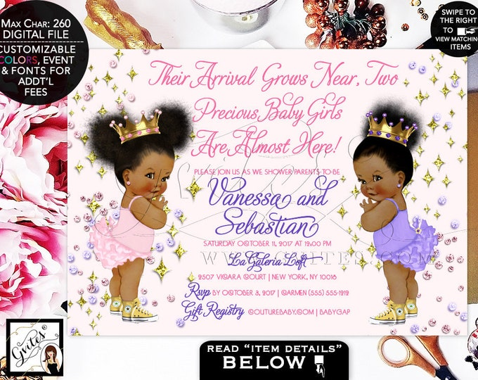 Baby Shower Twins, Diamonds Pink Purple Gold, Princess Invitations, Lavender, Blush Pink and Gold, Printable, Afro Puffs, 7x5 Gvites