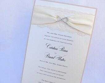 Lace Wedding Invite, Lace Wedding Invitation, Lace Invite, Vintage Invitation,  Lace Invitation, Infinity Symbol,INFINITY - CHROME VERTICAL