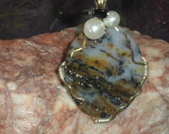 Montana Agate Cabochon Pendant Necklace