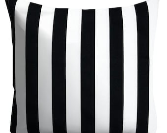 decorative pillows, black white pillows, striped pillow, black stripe pillow, neutral pillow, pillow cover, 16 in couch pillow, 16x24 cover