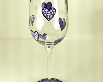 Hand painted Wine glass Purple hearts Ladies