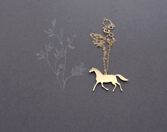 Horse Necklace - Animal Necklace - Horse Pendant Necklace - Gold Horse Necklace - Horse Jewelry- Equestrian Gift - Nature Necklace