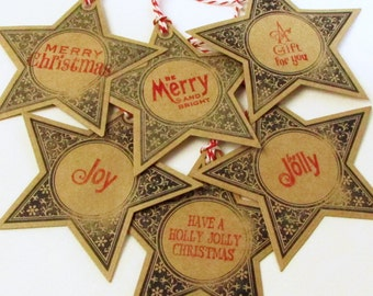 Star Christmas Gift Tags, Eco-Friendly Gift Tag, Merry Christmas Tags, Be Merry and Bright, A Gift For You, Joy, Holly Jolly, Be Jolly Tags