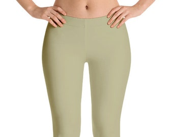Sage Leggings Yoga Pants, Solid Color Yoga Tights for Women, Green Workout Clothes
