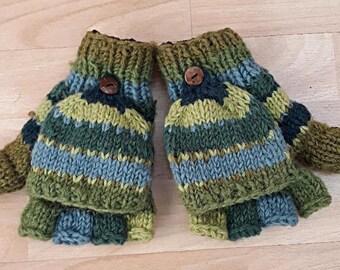 Hand Knitted Wool Fingerless Gloves / Mittens (green / blue)