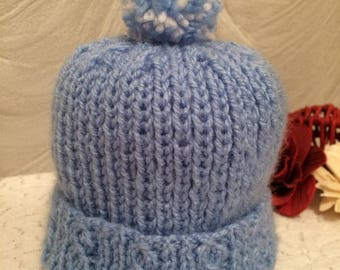 Cable knit pom pom hat - any colour