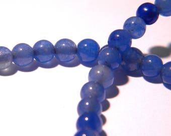 20 jade beads 4 mm - translucent - round bead - gem stone - blue-F177-1