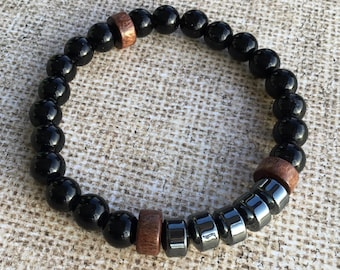 Men's Hematite Stretch Bracelet with Matte Black Agate and Driftwood Beads