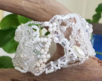 Free Form Peyote Stitch Beaded Bracelet. Wedding jewelry.