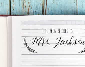 Custom Bookplate Stamp, Personalized This Book Belongs To Stamp, Teacher Stamp, Library Stamp, Book Stamp, Gift for Her, Style No. 19B