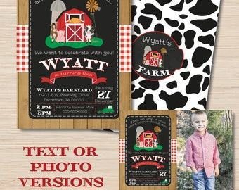 Farm Birthday Invitation - Farm Party Invitation - Farm Birthday Decorations -  Barnyard Birthday - Tractor Party - Farm Banner - Printable