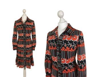Roter Mohn-Druck-Kleid | Vintage-Shirt-Kleid | Neuheit-Druck-Kleid | 1970er Jahre 70er Jahre Frauenmode