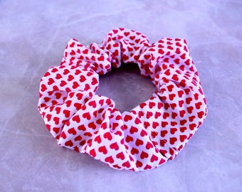 Mini Valentine Heart Hair Scrunchie 100% Cotton