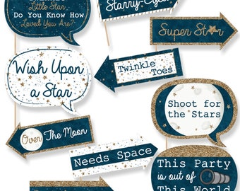 Funny Twinkle Twinkle Little Star - Baby Shower Photo Booth Props - Birthday Photo Booth Prop Kit - Blue and Gold - 10 Props & Dowels