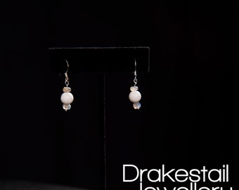 White Howlite and Labradorite Earrings