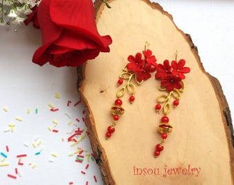 Red Earrings Flower Earrings Dangle Earrings Handmade Earrings Red Flowers Red Jewelry Polymer Jewelry Floral Jewelry Gift For Her Flowers