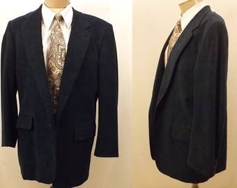 70's Walter Morton Blue Suede Sport Coat Size 40 Hickey Freeman