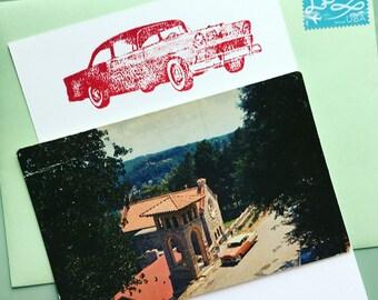 Letterpress Notecard + Vintage Postcard