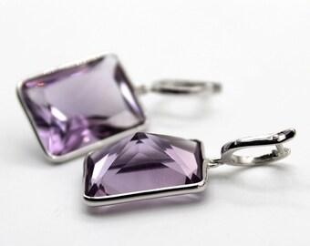 Handmade in 925 Sterling Silver Natural Amethyst Gemstone Earring