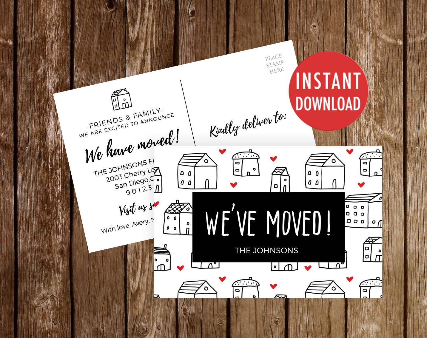 we 39 ve moved postcards template moving announcement we. Black Bedroom Furniture Sets. Home Design Ideas