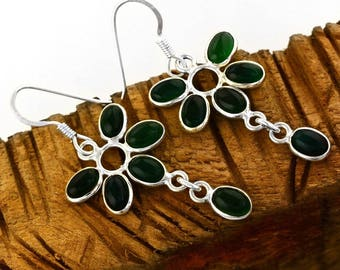 Green Onyx Oval Cab Earrings - Onyx Earrings - Sterling Silver Earrings - Handmade Earrings
