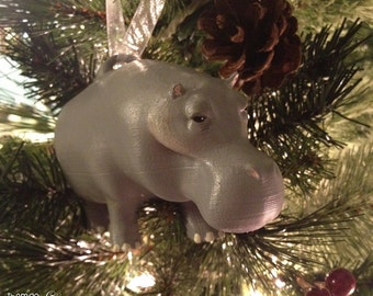 Nelson the Hippo (Standing) - Hippo Christmas Ornament - Hippo Holiday Ornament - Hippo Decoration - Hippo Holiday Present