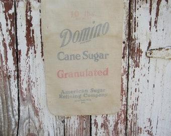vintage cotton Domino Cane Sugar bag 10 lbs.