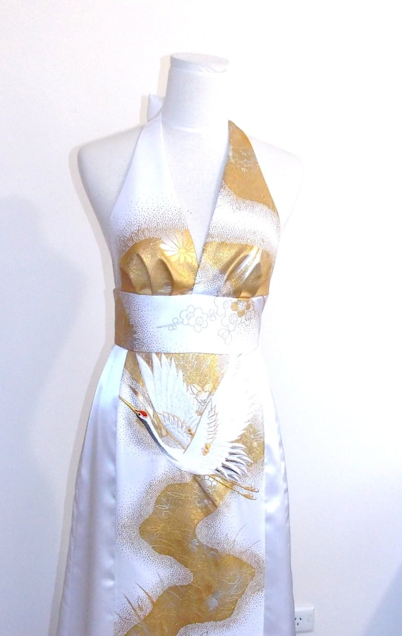 Wedding dress made with vintage bridal KIMONO halter neck