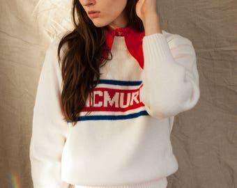 White Macmurray College Crew Neck Sweater