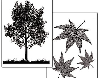 2 sheets of paper transfer tree and leaves DFTR056