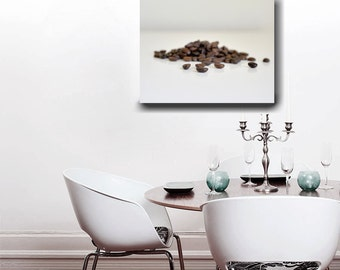 Large food wall art, coffee bean art, modern kitchen canvas wrap, dining room wall art, food photograph canvas print, brown white coffee art